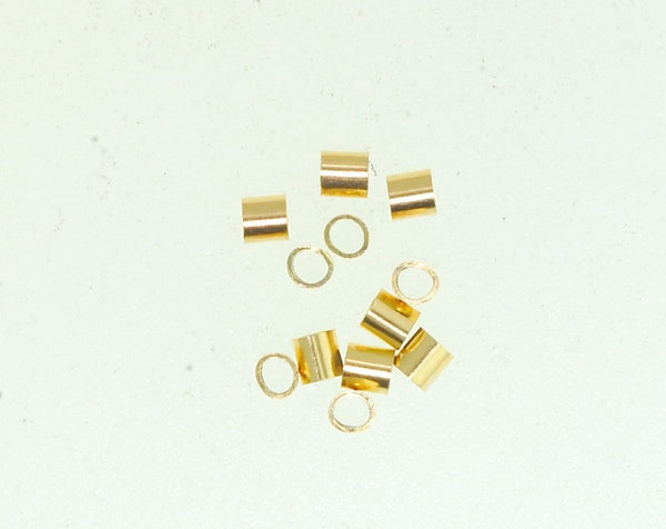 Gold Filled Crimp. Size 2 x 2 mm.