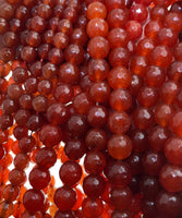 Natural Red Carnelian Beads-Faceted Round
