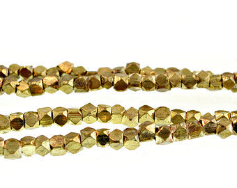 BrassNugget03 - 3.5 mm Faceted Brass nuggets with antique gold plated