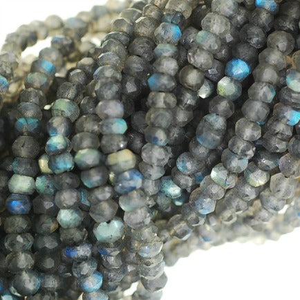 Faceted Labradorite Semi Precious Gemstone beads - Roundell 4 mm