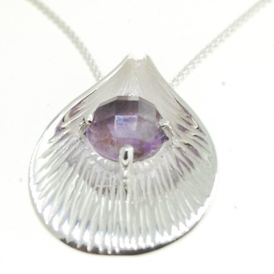 Lotus Silver Pendant with Gemstones - Amethyst, Labradorite, Black Onyx