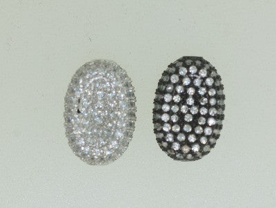 Pav-12 CZ Pave beads, oval shape, 2 colors available.