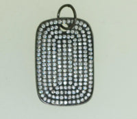 Pav-18 CZ Pave Pendant. Square shape pendant. Gun Metal color.