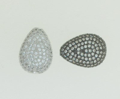 Pav-03 CZ Pave beads, Tear drop shape, 2 sizes color available. Silverand Gun Metal
