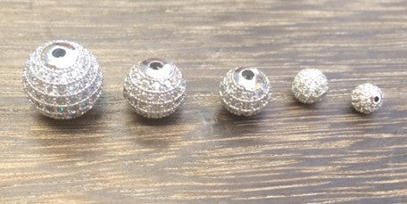 Pav-01 CZ Pave beads. Silver CZ pave round balls. 5 sizes Available.