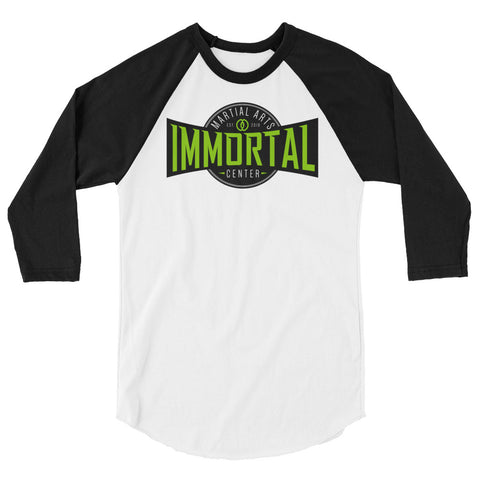 white baseball t-shirt with black sleeves immortal green logo