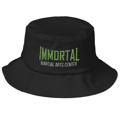 black bucket hat with green logo immortal martial arts