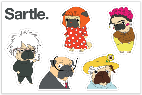 Famous Pug Artists Sticker Sheet