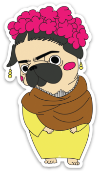 Frida Kahlo Pug Sticker