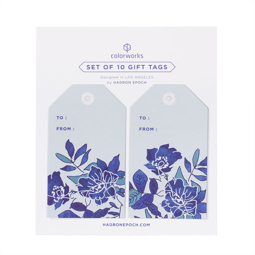 FINE CHINA BLUE FLORAL GIFT TAGS - Hadron Epoch