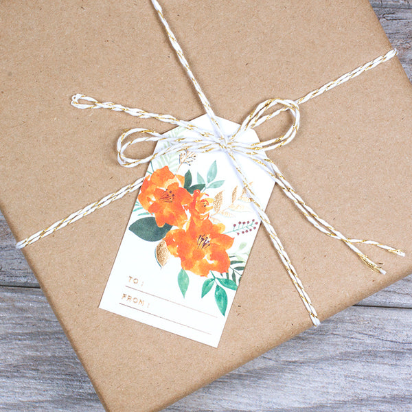 PAINTED RED & ORANGE FLORAL GIFT TAGS - Hadron Epoch