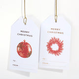 RED ORNAMENTS CHRISTMAS GIFT TAGS
