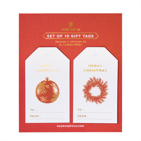 RED XMAS ORNAMENTS CHRISTMAS GIFT TAGS - Hadron Epoch
