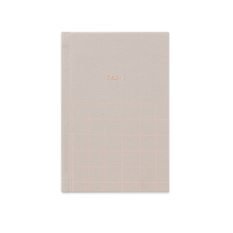 2020 (12M) SMTWTFS FABRIC POCKET PLANNER HAZELNUT CREAM - Hadron Epoch