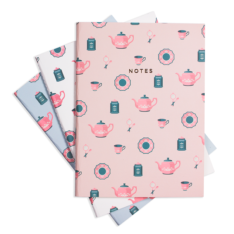 "TEA TIME NOTEBOOK (3/SET) 6"" x 8"" - Hadron Epoch"