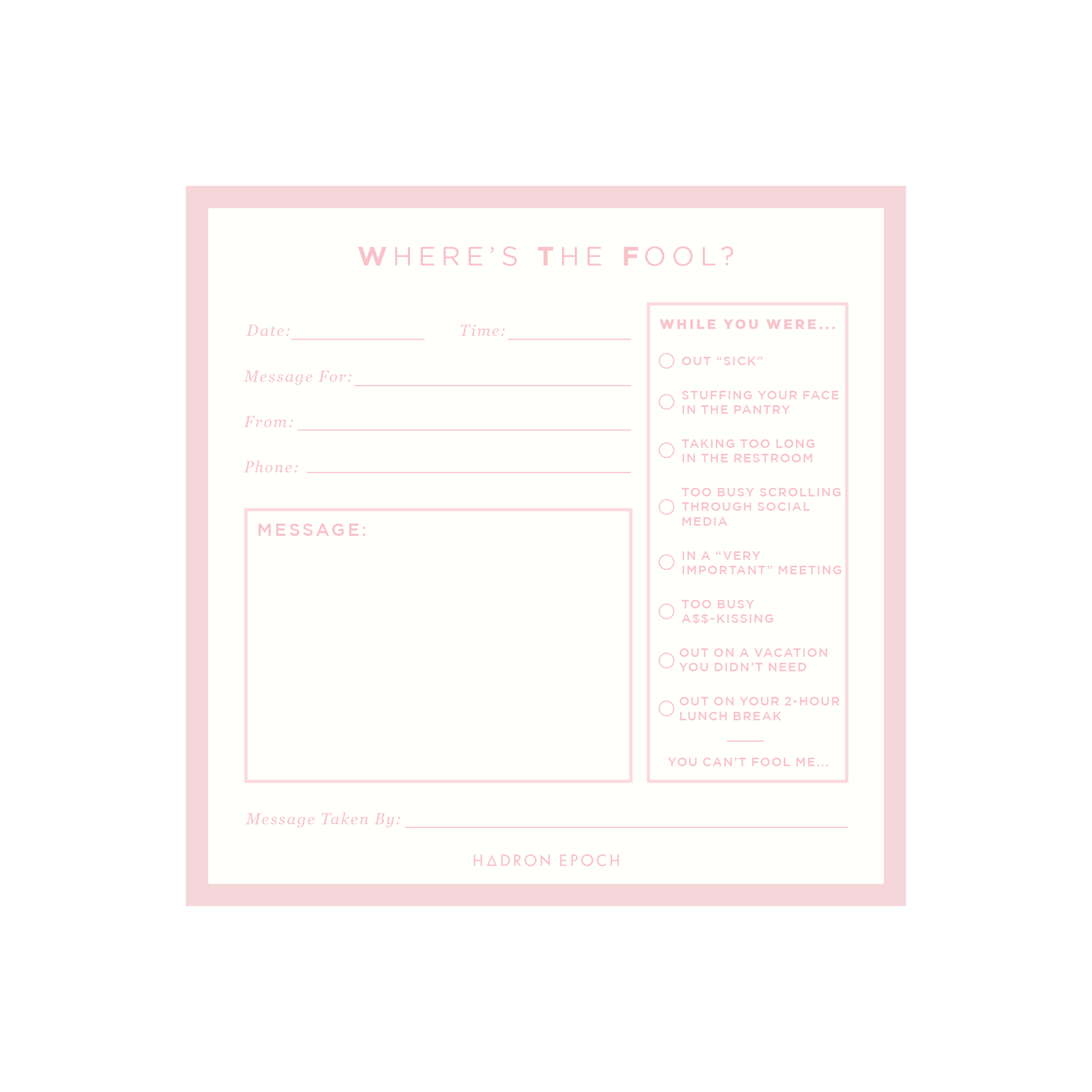 SMTWTFS Message Notepad Coral Pink - Hadron Epoch
