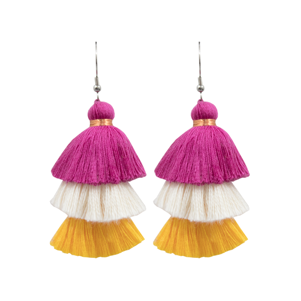 Tassel Earrings - Pink/Yellow