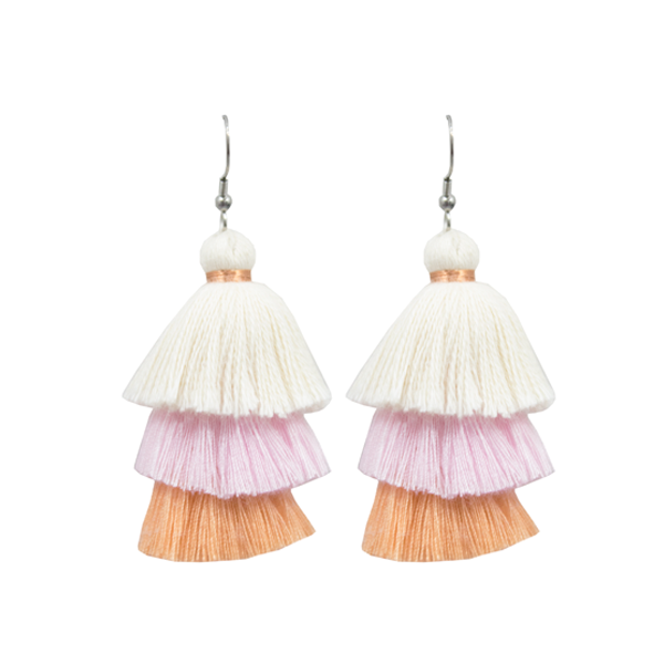 Tassel Earrings - White/Pink/Peach