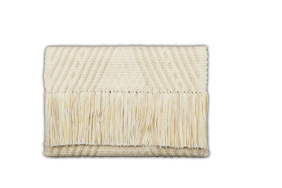 Beige & White Geometric Triangle Clutch - Sand leather interior