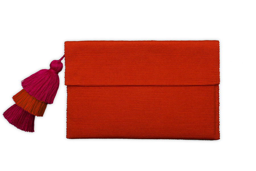 Orange Clutch - Orange & Pink Triple Tassels