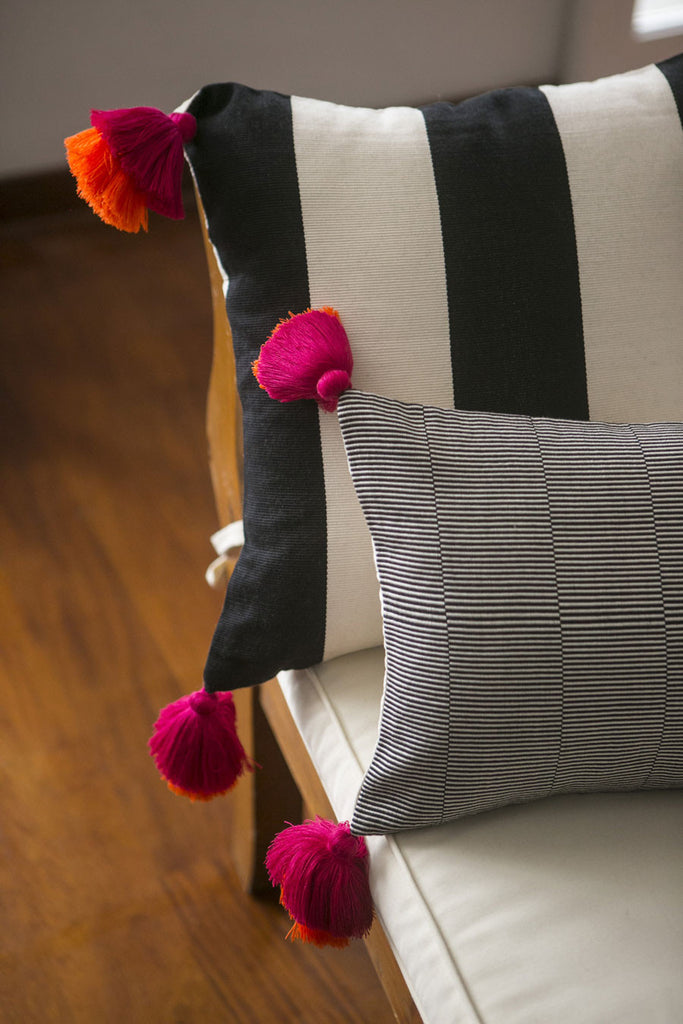 Pillow Cover Stripes - Double Pink & Orange Tassels