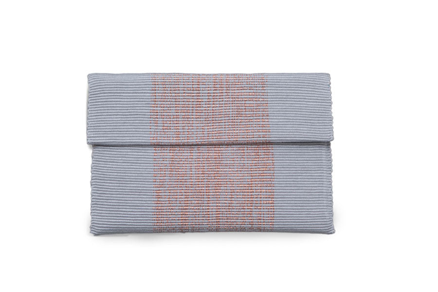 Grey & Copper Clutch - Brown Suede interior