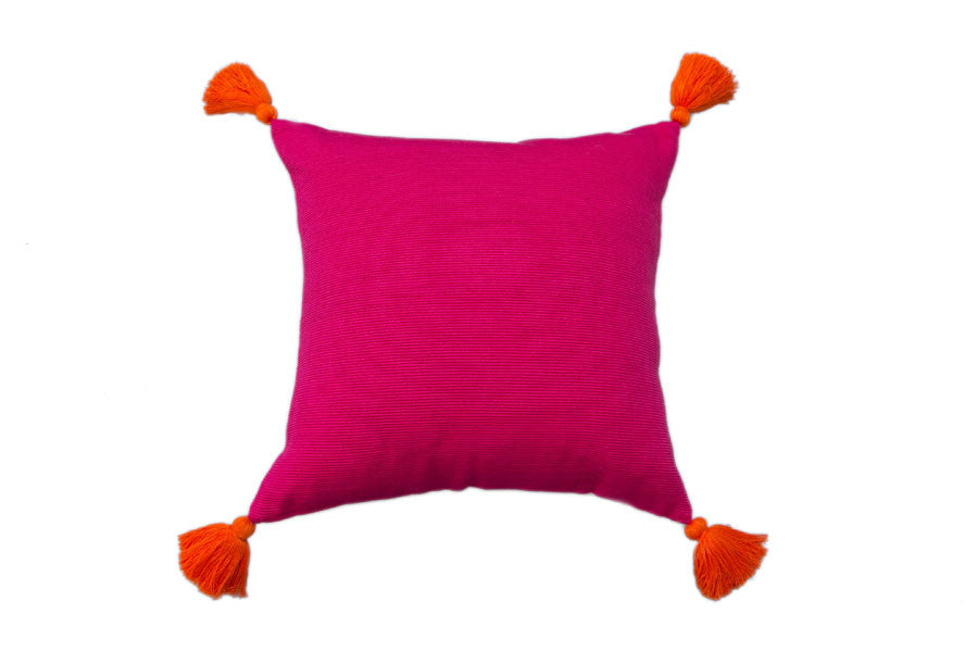 Pillow Cover Solid Pink - Orange Tassels