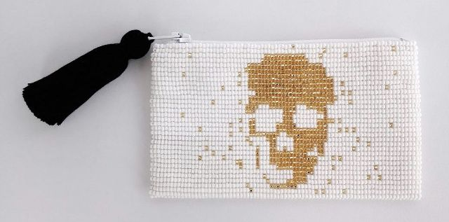 Glass Bead Coin Purse - Skull Gold on White