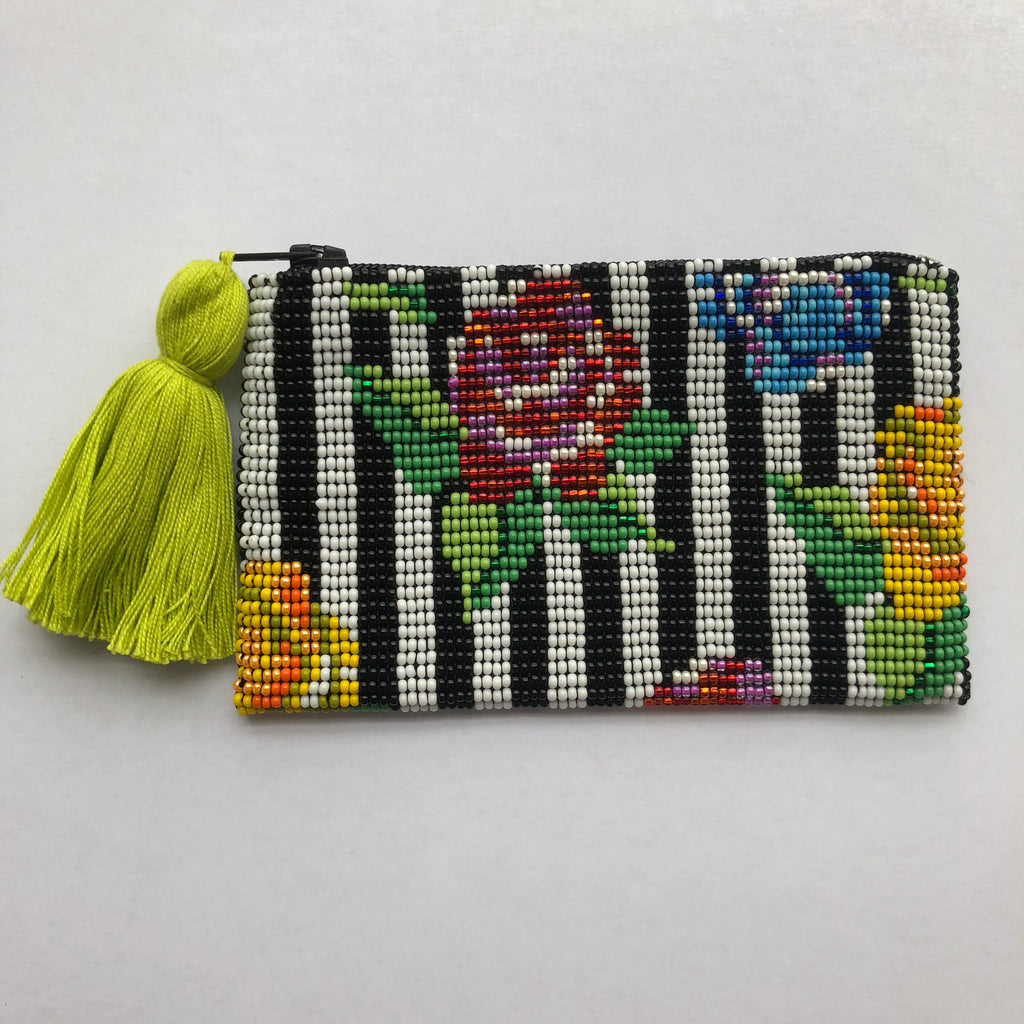 Glass Bead Coin Purse - Stripe Flowers