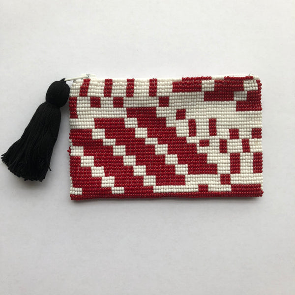 Glass Bead Coin Purse - Red Geo