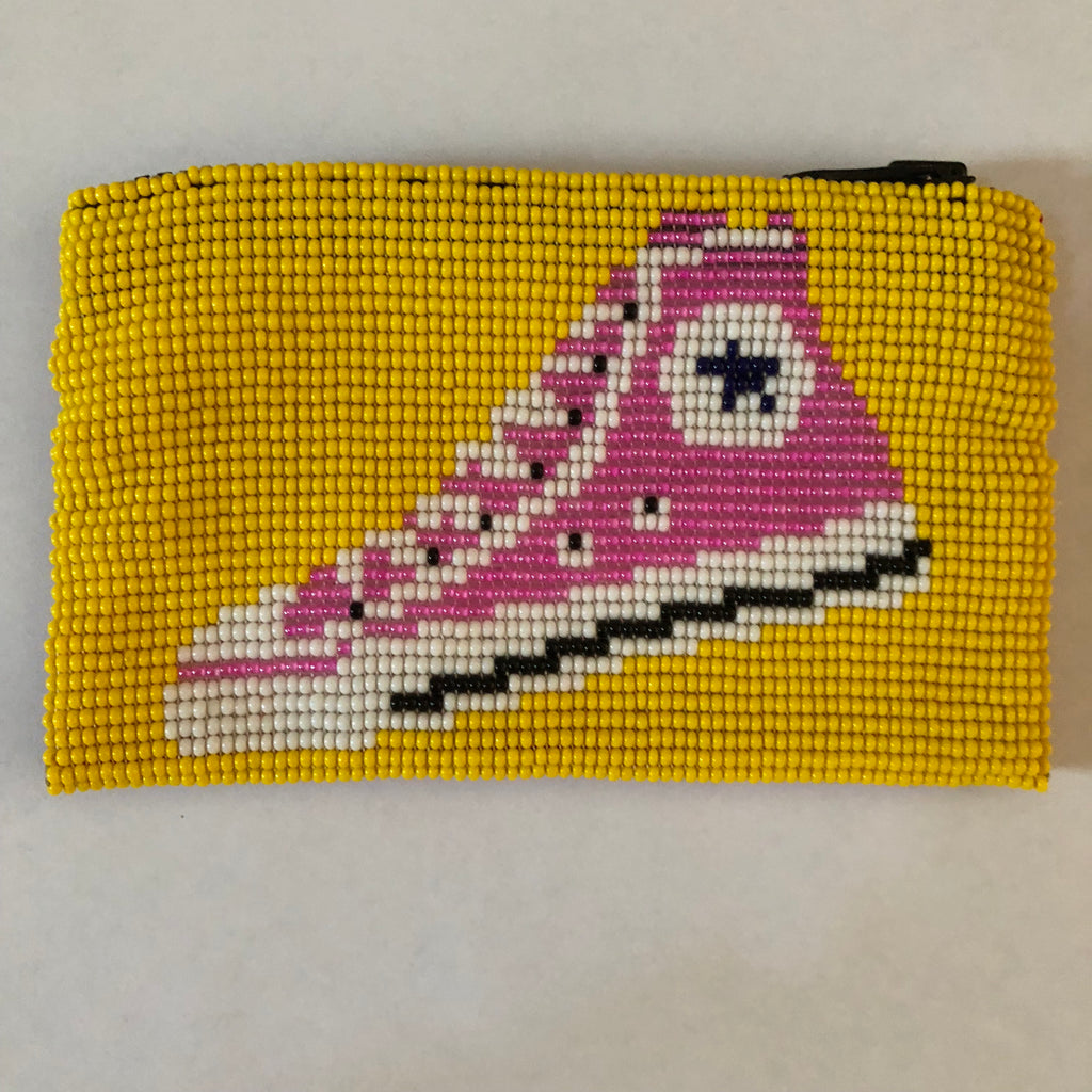 Glass Bead Coin Purse - Hightops Yellow/Red