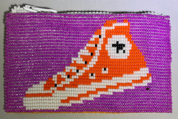 Glass Bead Coin Purse - Hightops Purple/Orange