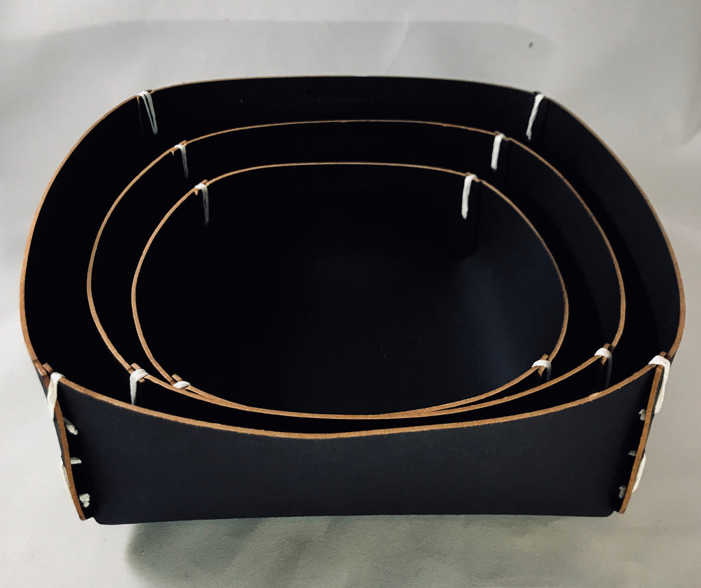 Leather Square Basket - Black
