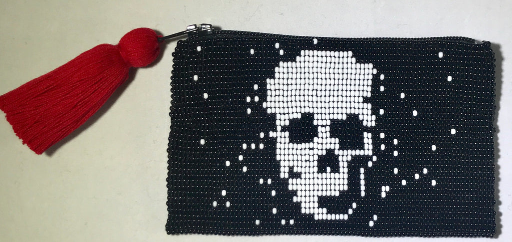 Glass Bead Coin Purse - Skull White on Black