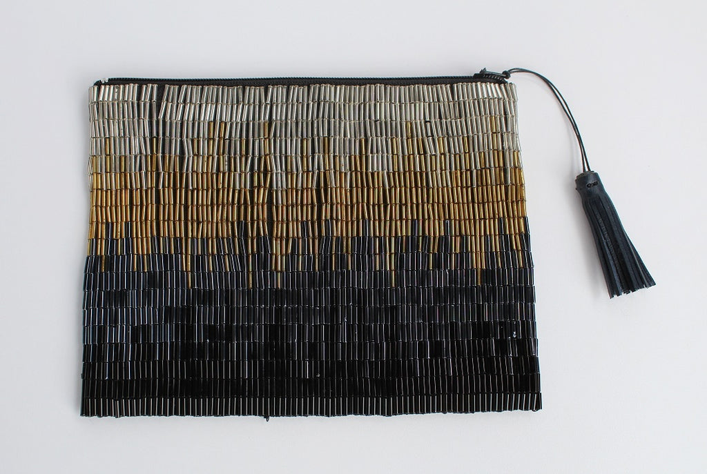 Glass Bead Flapper Clutch - Black Ikat