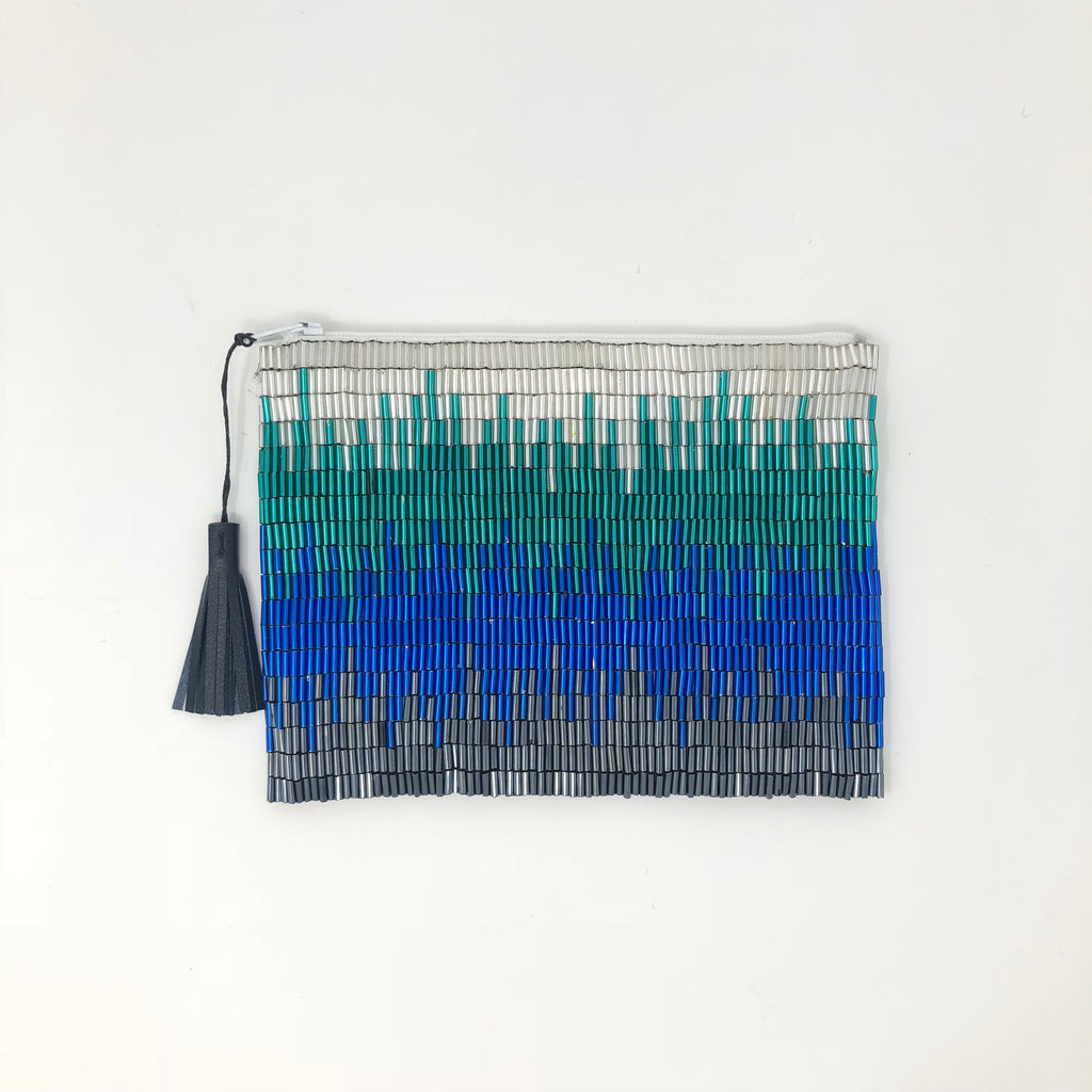 Glass Bead Flapper Clutch - Blue Ikat