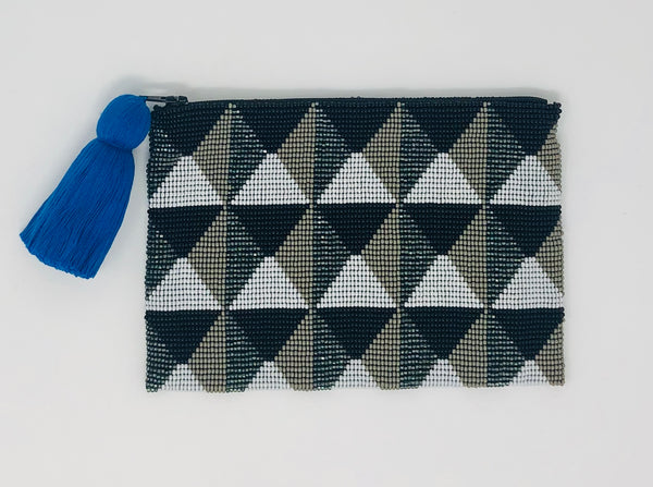 Glass Beaded Pouch - Black/Grey