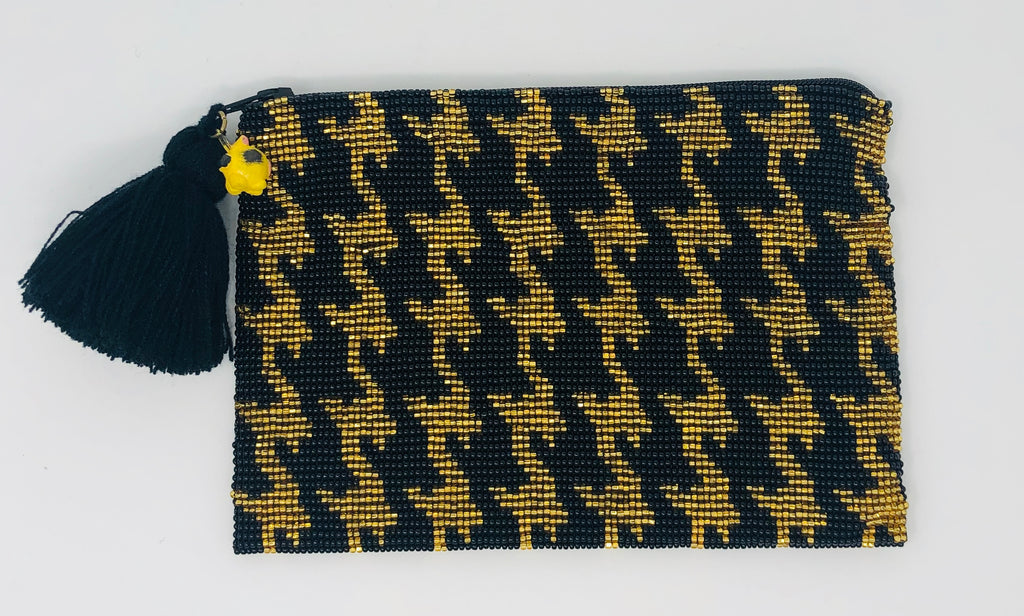 Glass Beaded Pouch - Houndstooth Black/Gold