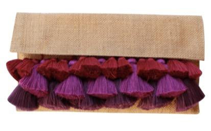 Clutch with Fiber & Tassels - Burgundy/Purple