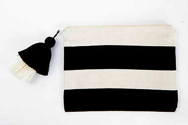 Pouch Horizontal Stripes Black & White - Double Pink Tassels