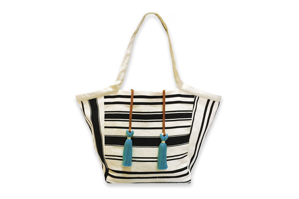 Rosa Tote - Black and White Stripes