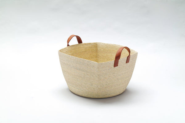 Basket with Leather Handles - Small Square