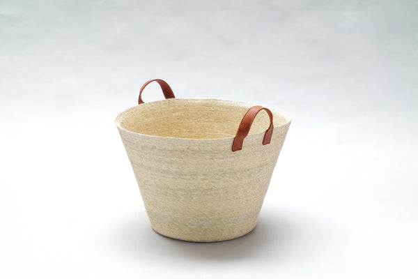 Basket with Leather Handles - Conical Large