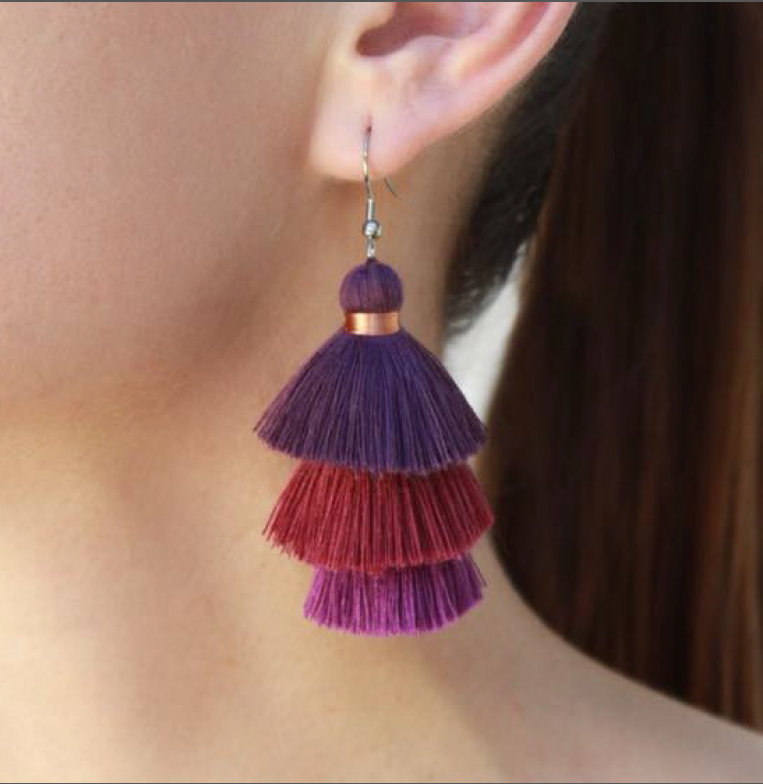 Tassel Earrings - Burgundy