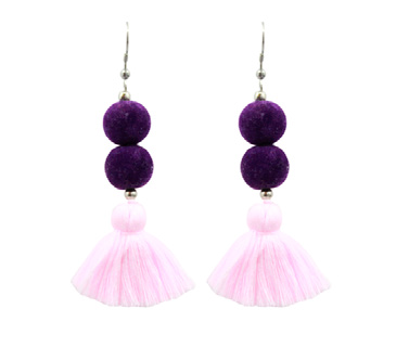 Tassel Earrings with Beads - Pink/Purple