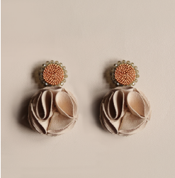 Rose Earrings - Beige