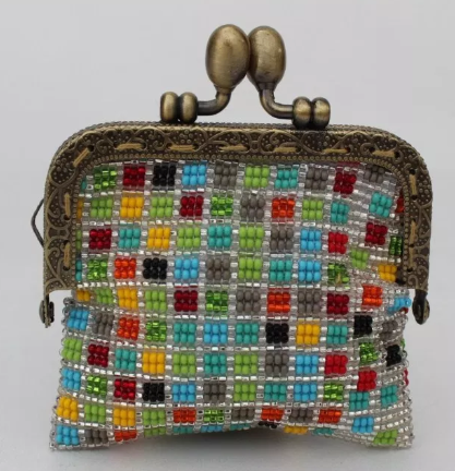 Glass Bead Coin Purse with Metal Frame - Confetti