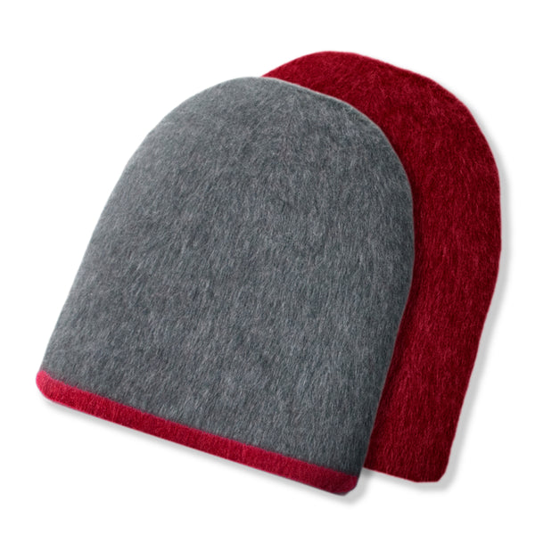 Reversible Alpaca Hat - Sangria/Smoke
