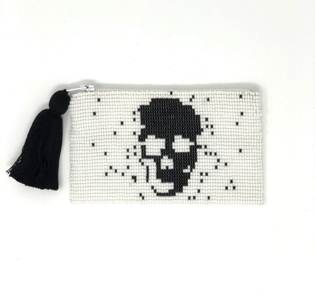 Glass Bead Coin Purse - Skull Black on White