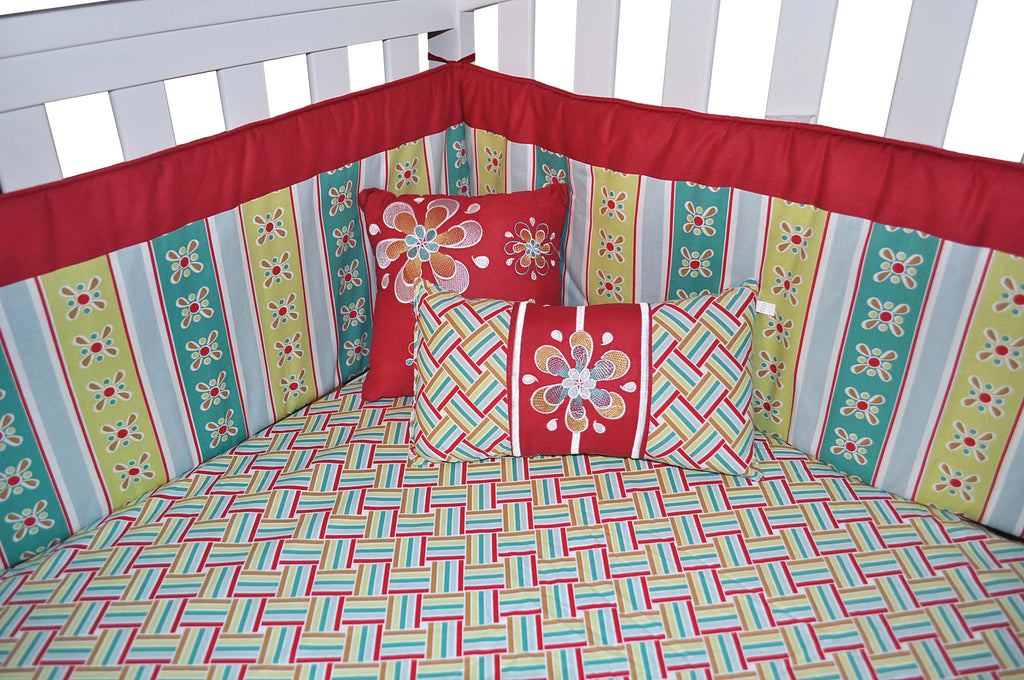 7 Piece Red Floral Crib Bedding Set